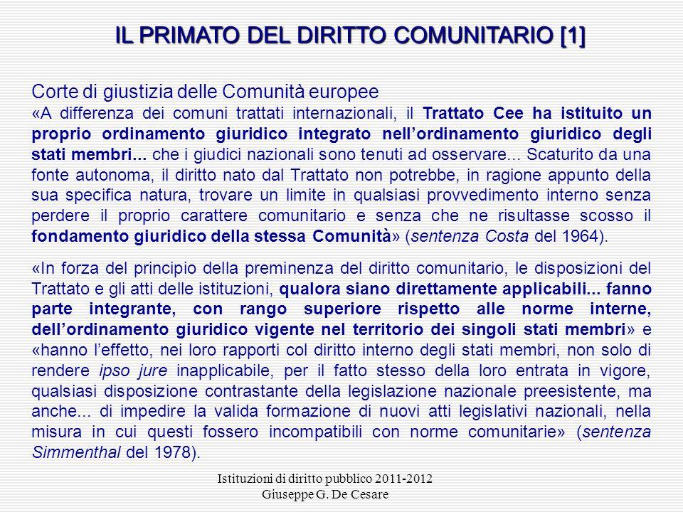 IL PRIMATO DEL DIRITTO COMUNITARIO [1]